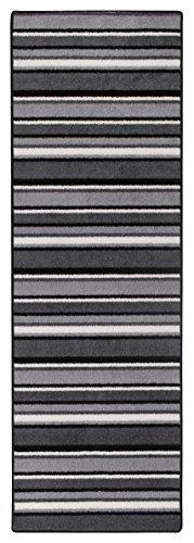Teppichläufer Kurzflorteppich Streifendesign Läufer mit Streifen Küchenläufer – Wohnzimmer Eingangsbereich Flur Küche – mehrfarbig gekettelt strapazierfähig pflegeleicht – 65 x 200 cm schwarz/weiß