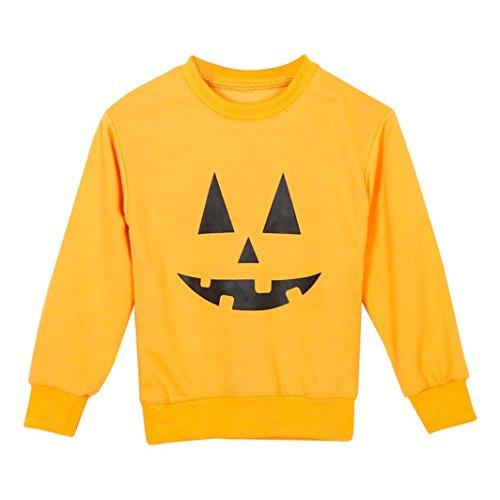 amilien Mutter Kinder Sweatshirt Kürbis gedrucktes T-Shirt Oberseiten Outfit (2T, Kind) (Niedliche Halloween Outfits Für Frauen)
