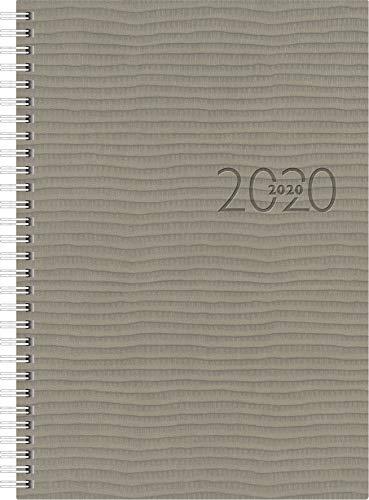rido/idé 702303680 Buchkalender studioplan int. (2 Seiten = 1 Woche, 168 x 240 mm, Kunstleder-Einband Tejo, Kalendarium 2020, mit Registerschnitt, Wire-O-Bindung) grau (Auf Zwei Seiten Pro Woche)