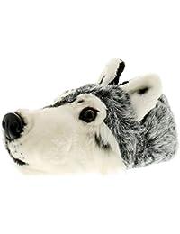 para Hombre Cabeza de Lobo Zapatillas con Peluche sin Cordones Novedad Pantuflas para Todo Those Animal