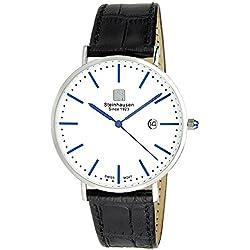 "Steinhausen S0520 Classic Burgdorf Swiss Quartz Reloj ""Blue Label"" con banda de cuero negro"