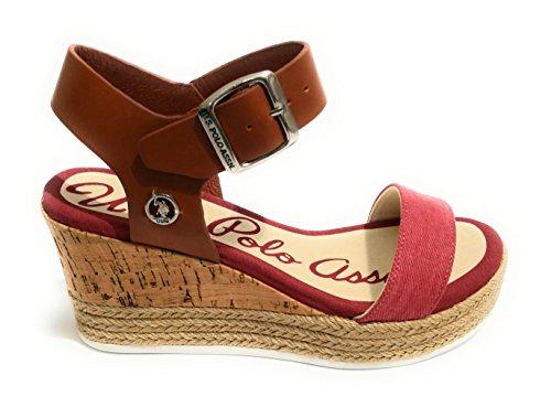 Uspolo Assn. Niva3 Jeans, Sandales T-shirt Multicolore Pour Femme (marron / Rouge)