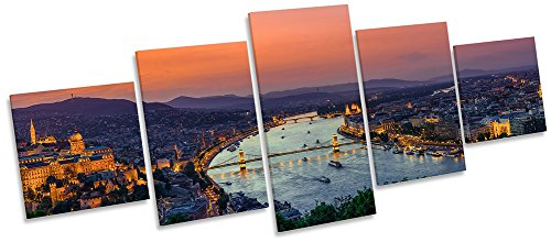 Budapest Ungarn Skyline Multi Leinwand Wand Art Box Rahmen Bild Print, 200cm wide x 80cm high Budapest-bild