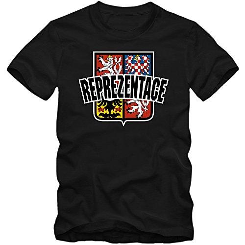 Tschechien EM 2016 #4 T-Shirt   Fußball   Herren   Trikot   Reprezentace   Nationalmannschaft © Shirt Happenz Schwarz (Deep Black L190)
