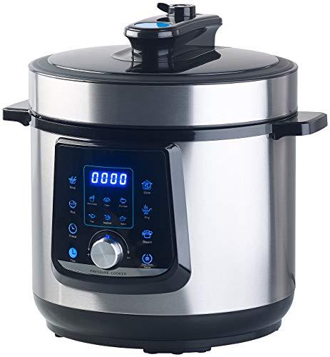Sichler Haushaltsgeräte Elektro-Schnellkochtopf: Programmierbarer 11in1-Schnellkochtopf, 6 l, 1.000 W, bis 70 kPa Druck (Elektrischer Schnellkochtopf)