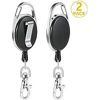 PAMIYO 2Pcs Portes-clés Durable Enrouleur Longueur 65 cm avec Attache Ceinture Mousqueton et Ressort, Noir