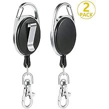 2e5a014887d PAMIYO 2Pcs Portes-clés Durable Enrouleur Longueur 65 cm avec Attache  Ceinture Mousqueton et Ressort