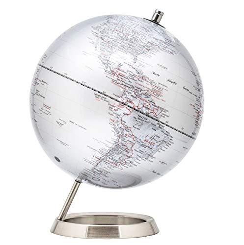 Exerz 30 CM Globo terráqueo - en Inglés - Decoración de escritorio educativa/geográfica / moderna - Con una base de metal - Negro Metálico