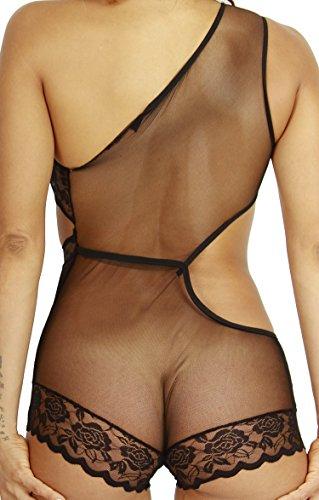HO-Ersoka Damen Body Teddy asymmetrischer Look Tüll Spitze schwarz Schwarz