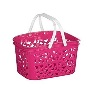 Cestino Hot Pink Storage Basket With White Plastic Handles & 2.4 Ltr Capacity by acropolebits