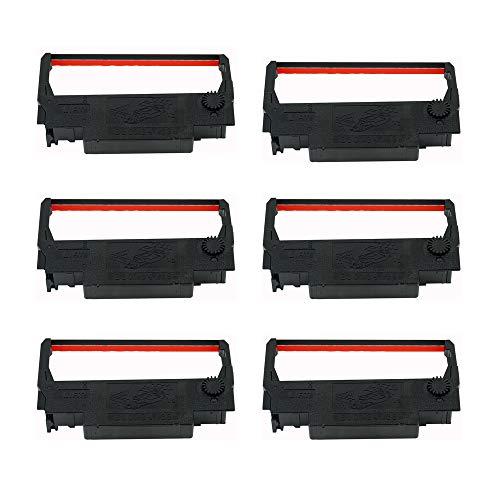 Printerfield ERC38 6-Stück Farbbandkassetten Ink Ribbo für Registrierkasse Rechner - Schwarz & Rot - U220-serie
