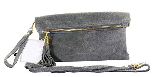 Italiano camoscio cuoio Fold Over frizione, polso o borsa a tracolla.Include una custodia protettiva marca. Grigio scuro