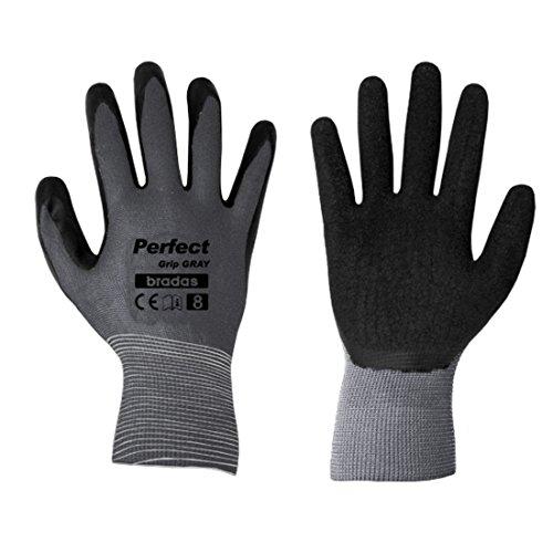 12 Paar Arbeitshandschuhe mit Latexbeschichtung Gr. 10 grau Montagehandschuhe Gartenhandschuhe Arbeitsbekleidung Sicherheitshandschuhe Schutzhandschuhe
