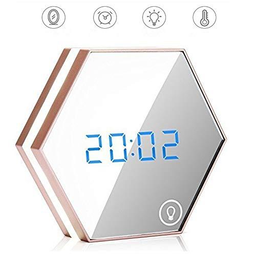 Pyrus sveglia portatile specchio notte luce lampada da tavolo led ricaricabile sveglia digitale alimentato sveglia da viaggio (sveglia)