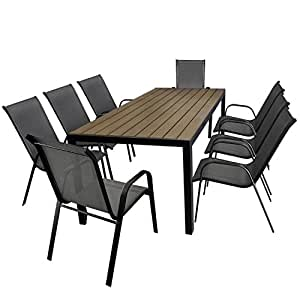 multistore 2002 9tlg gartengarnitur aluminium gartentisch tischplatte polywood. Black Bedroom Furniture Sets. Home Design Ideas