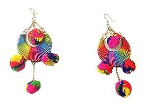Muccasacsra Trendy & Stylish Multicolour Thread Pom Pom Dangle & Drop Earring For Women