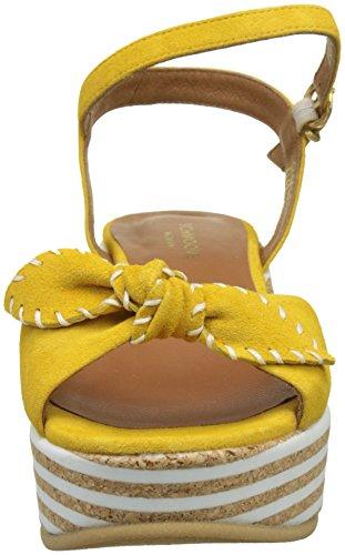 Schmoove Damen Ariel Ankle Kid Suede Plateausandalen Jaune (mimosa)