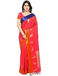 Varkala Silk Sarees Women's Katan Silk Kanjiwaram Saree With Blouse Piece(JB5020_Coral_Free Size)