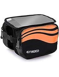 Enkeeo - Bolsa frontal 2-lados alforja delantera bolsa de manillar (Agua resistente, pantalla transparente táctil, sellado de cremallera, 2 correas ajustables, para bicicleta) Negro