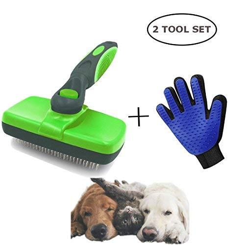 Versacrop selbst Reinigung Zupfbürste und Fellpflege Handschuh für Katzen und Hunde-Fellpflege Werkzeug Ausfallen Werkzeug für Fellpflege Katze Hund Lang und Dickes Haar (Fein Haar Dickes)