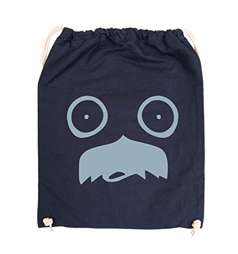 Comedy Bags - GESICHT SCHNURRBART - COMIC - Turnbeutel - 37x46cm - Farbe: Schwarz / Silber Navy / Eisblau