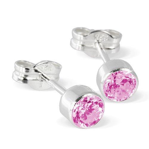 SilberDream Damen-Ohrringe Zirkonia pink 925 Sterling Silber SDO503P