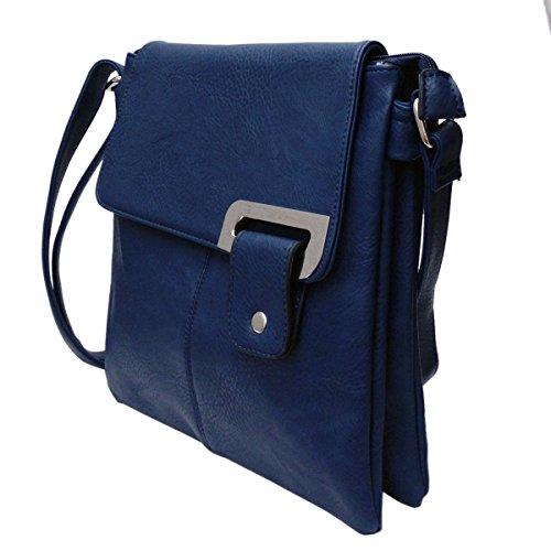Avashion, borsa a tracolla in finta pelle con cinghia regolabile e tasche multiple (Blu)