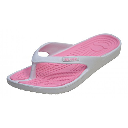 Ladies White Pink Eva Toe Post Flip Flop Surf Sandals New Summer Flat Beach Shoe, 7 UK
