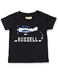 Personalised Baby// Children t-shirt EMAIL NAME OLD BIPLANE SMOKE NAME