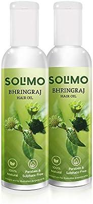 Amazon Brand - Solimo Bhringraj Hair Oil 2 X 100ml, 100% Natural, Ayurvedic Proprietary Medicine, Free from Pa