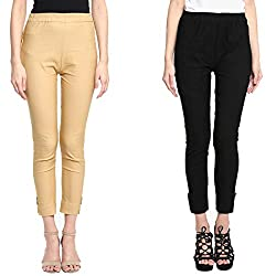 Broadstar Gold & Black Lam Lam Solid Palazzo Pant For Women- Pack Of 2