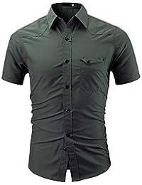 1990c6fb22724e Klassisches Herren Hemd Sommer Kurzarm Hemden T Shirt Einfarbige Baumwolle  Freizeithemd mit Tasche Männer Regular Fit
