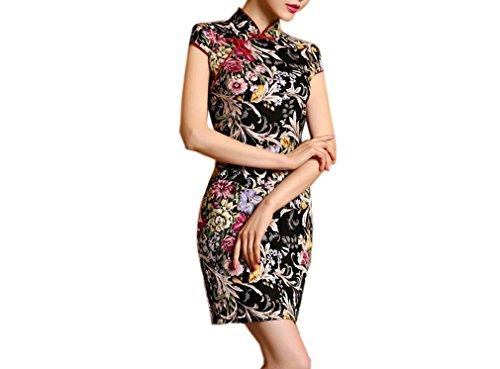 Cheongsam Kleid Muster (LUCK Frauen Damen Sommer Qipao Kurz Kleider Cheongsam mit Blumen Muster (EU:40-China:XXL))