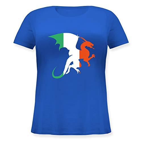 St. Patricks Day - Drache Irland - XL (50/52) - Blau - JHK601 - Lockeres Damen-Shirt in großen Größen mit Rundhalsausschnitt (St Patrick's Day Kostüm Ideen)