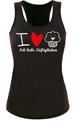 Ich liebe Süßigkeiten Mit Muffin als Aufdruck Damen Tanktop Schwarz/Weissrot