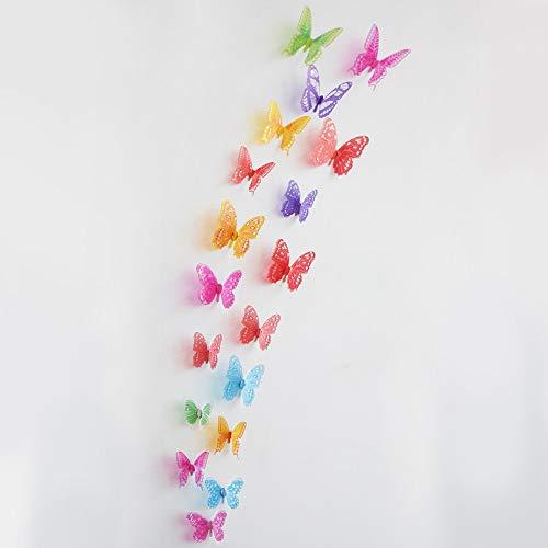 Macxy – Crystal 18pcs 3D Papillons DIY Stickers muraux de Meubles pour la Chambre des Enfants de Noël décoration du Parti Cuisine réfrigérateur en Vinyle [3]