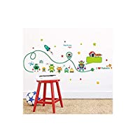Vinyl Wall Sticker 3D Wall Sticker Cute Robots Rocket Wall Stickers for Kids Room Nursery Indoor Decor DIY Art Removeable Decals Home Decoration 108X42Cm