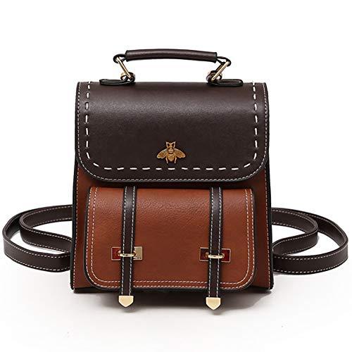 SOOKi Kleine Biene Vintage Frauen Rucksack einfachen Stil Rucksack College Rucksack Tasche Geldbörse stilvolle Umhängetasche- Dark Brown