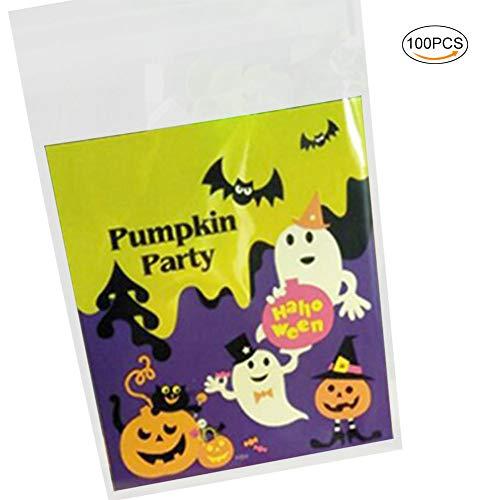 Emorias 100 Pcs Weihnachtstüte Halloween Karamell Kekse Papier Verpackung Dekoration Geschenk-Box - 10 cm * 10 cm + 3 cm 10 * 10 * 3CM Lustig