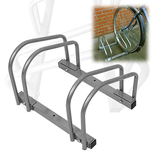 AUFUN Fahrradständer Aufstellständer Fahrrad Ständer Boden Wand Montage Metall Platzsparend (Für 2 Fahrräder)