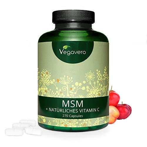 VEGAVERO® MSM VITAMIN C KAPSELN | natürliches Vitamin C (ACEROLA) - z.B. für Gelenke* | HOCHDOSIERT: 2.100 mg MSM pro Tag | 270 Kapseln | Vegan und OHNE Zusatzstoffe | organischer Schwefel