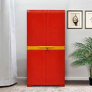 Nilkamal Freedom Mini Medium Plastic Cabinet Red , 2 Doors