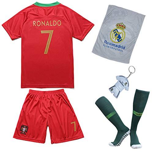 Portugal Ronaldo Trikot Set #7 Heim 2018/19 Kinder Fussball Trikot Mit Shorts und Socken Kinder (11-12 Jahre)