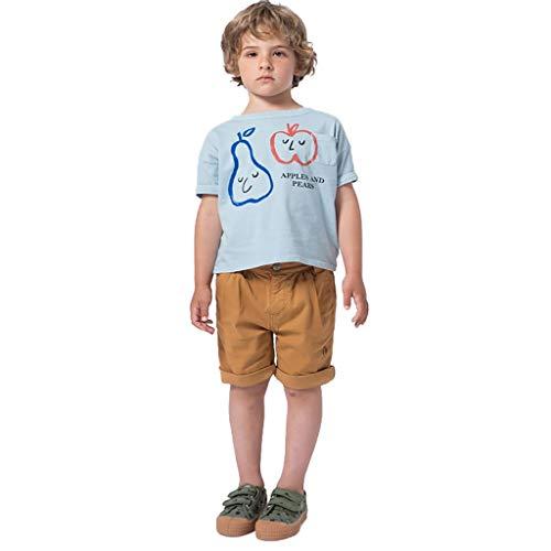 Tyoby Jungen Mädchen T-Shirt Frucht/Karikatur Drucken Mode T-Shirt kinderkleidung(Grau,130)