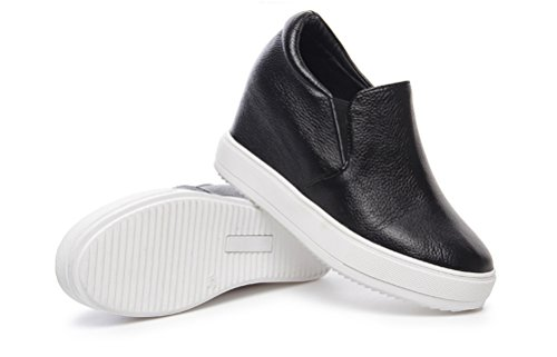 Damen Sneaker-Wedges Freizeit Turnschuh Stiefeletten Sportliche Plateau Sneakers mit Keil Absatz Schwarz
