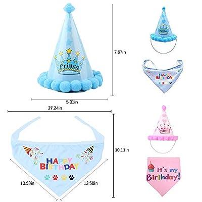 TEEPAO Dog Birthday Hat and Bandana Boy Set - AOLVO Adjustable Pet Dog Happy Birthday Hat & Cute Doggie Bandana Scarf Party Decorations - Prince & Happy Birthday from TEEPAO