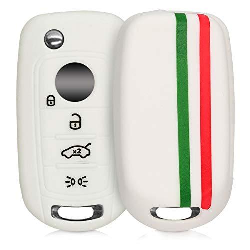 kwmobile Funda para Llave Plegable de 4 Botones para Coche Fiat - Carcasa Protectora Suave de Silicona - Case de Mando de Auto con diseño Bandera Italiana