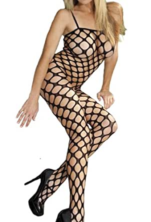 Sexy Petite big hole bodystocking in black, to fit UK6-12