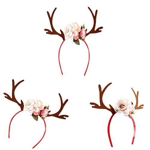 Homyl Süß Geweih Blumen Haarreif Rentiergeweih Stirnband Haarschmuck für Weihnachten Karneval Fasching Fotografieren - Weiß
