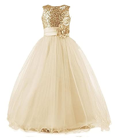 WAWALI Flowers Girls Sequins Foraml Party Dresses Ball Gowns 6 Champagne